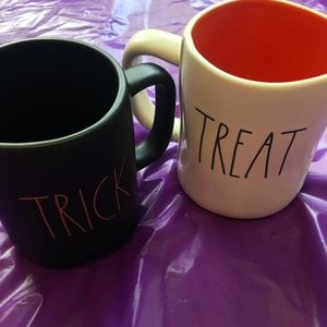 Rae Dunn Halloween Mugs Set of 2 Treat/Trick Black